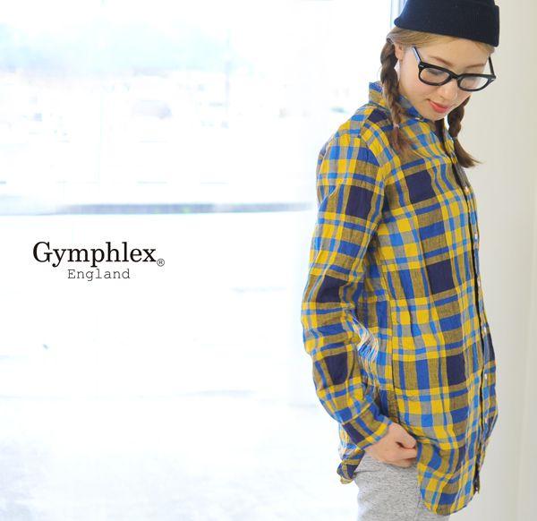 【楽天市場】Gymphlex ジムフレックス ボタンダウン リネンチェック ロングシャツ・j-0873-lpl(全2色)(M・L)【2014春夏】[fs04gm]:Crouka(クローカ)