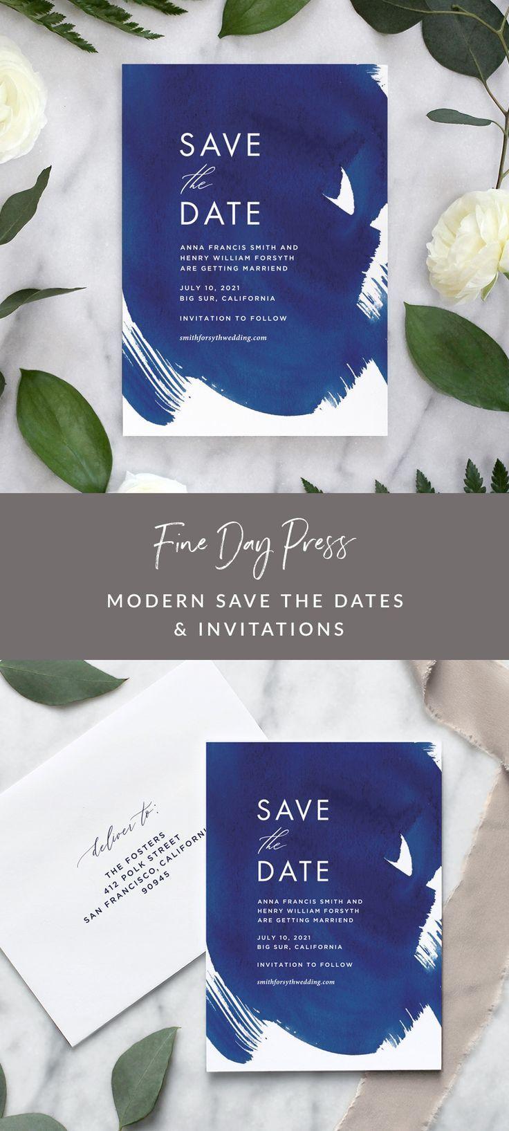 Indigo Blue Watercolor Wedding Invitations In 2020 Watercolor
