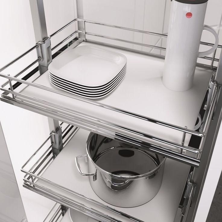 Here's a closer look at Vauth-Sagel's HSA pull out kitchen pantry in the Premea model option. Solid base shelves with chromed wire frames; each pull out basket can carry a 16kg load.