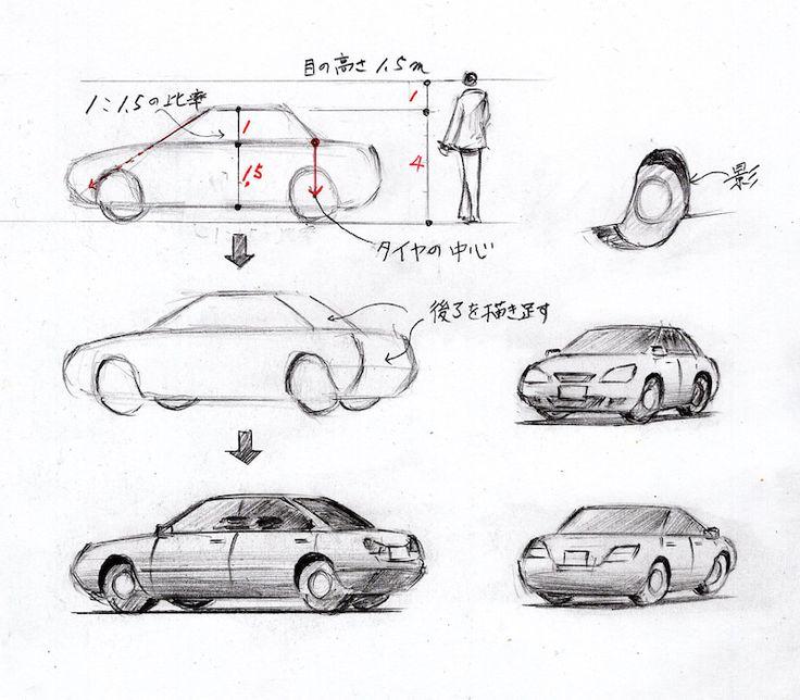車の描き方 2021 車の描き方 コンセプトアートのチュートリアル 家のスケッチ