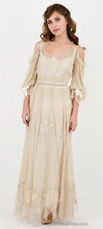 Romantic boho wedding dress - Raphaela Wedding Dress in Cream by Nataya  AT vintagedancer.com