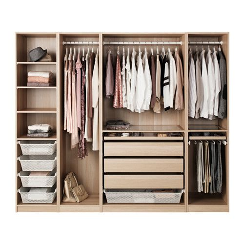 PAX Wardrobe, white stained oak effect white stained oak effect 250x58x201 cm -