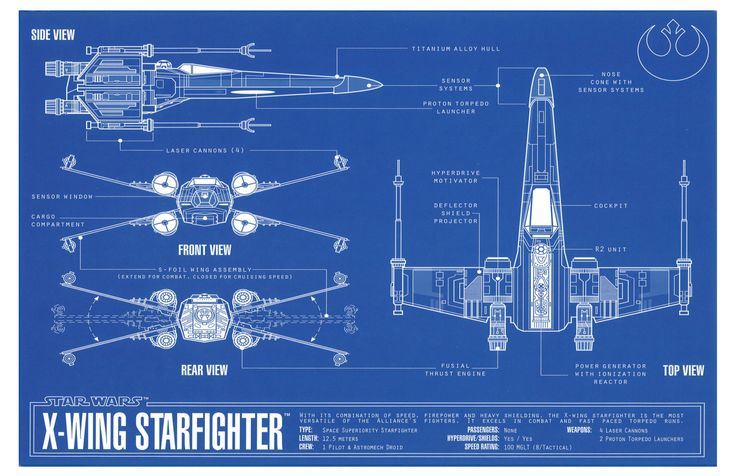 Star Wars Xwing Fighter Blueprint Por Atomicinspiredart En