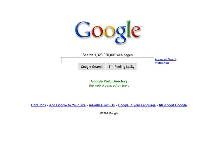 Google website in 2001