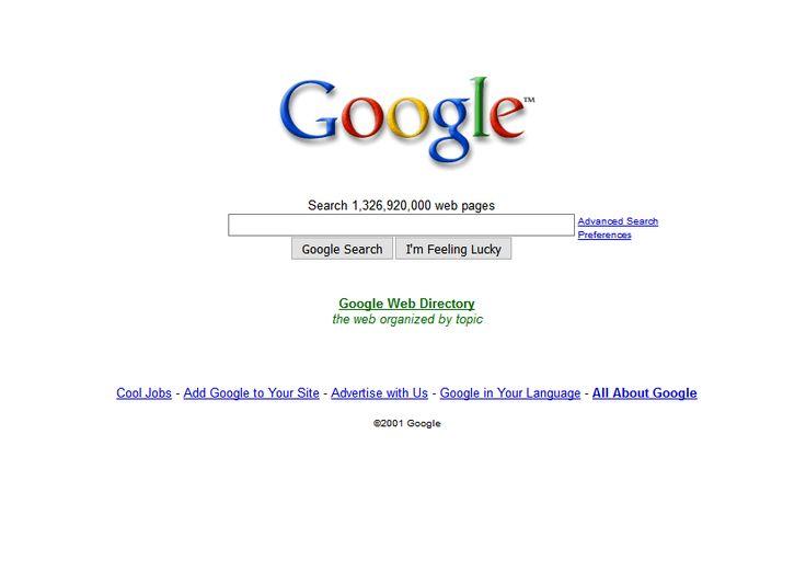 Google website in 2001