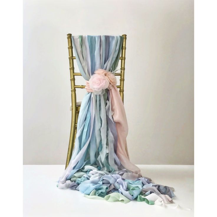 Chair Decor. Hand-dyed silk ribbon and paper flowers by Pompom Blossom. Something Blue. Wedding Decor. Blue Wedding