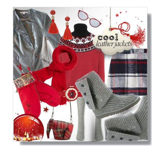 #leatherjackets #CasualChic Casual chic fall winter fashion featuring a plaid mini skirt, fair isle sweater, faux leather moto jacket, fringed earrings and knit scarf and gloves  #cool #moto #motojacket #motojackets #plaid #skirtunder50 #Bootie #grey #gray #red #purse #fringe #fringed #fairisle Polyvore featuring Fendi, Via Spiga, Abercrombie & Fitch, Uniqlo, UGG Australia, Loewe, Ideas 108, Kate Spade, Gizelle Renee and RED Valentino