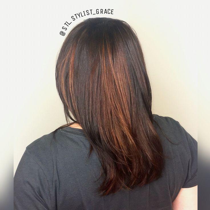 Copper highlights on dark red brown hair #STLStylistGrace