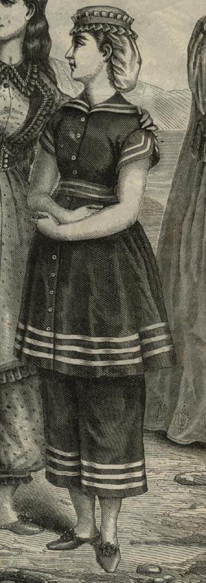 """Traje de baño extraído de la revista """"La Moda Ilustrada"""". 1872"""