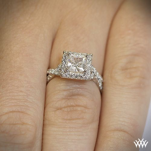 platinum verragio eng 0379 square halo diamond engagement ring - Square Cut Wedding Rings