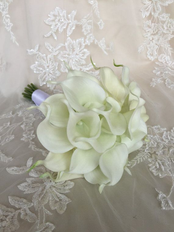 White Calla Lily Bouquet  True Touch Calla Lily by MerryMeBouquets