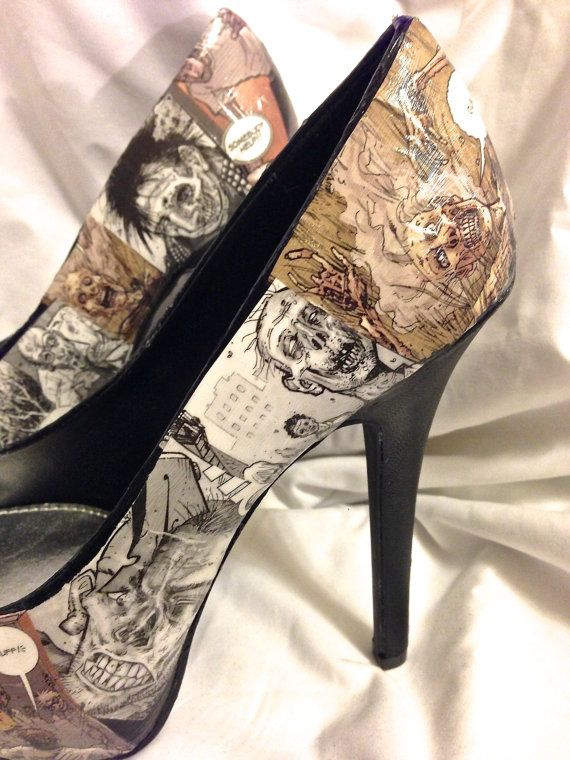 Ultra high Walking Dead Zombie Custom Comic Book Decoupage shoes -  Pumps     can do at home with Mod Podge