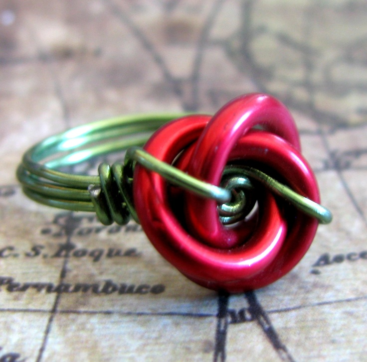 Red Rose Wire wrapped chain maille knot ring