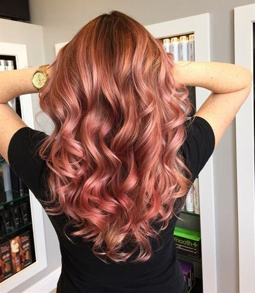 Rose gold ombre balayage