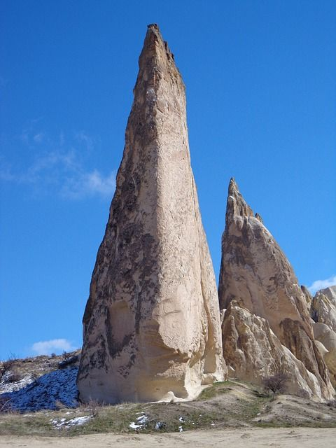 岩, カッパドキア, 岩の塔, トルコ, 石灰華, 世界遺産