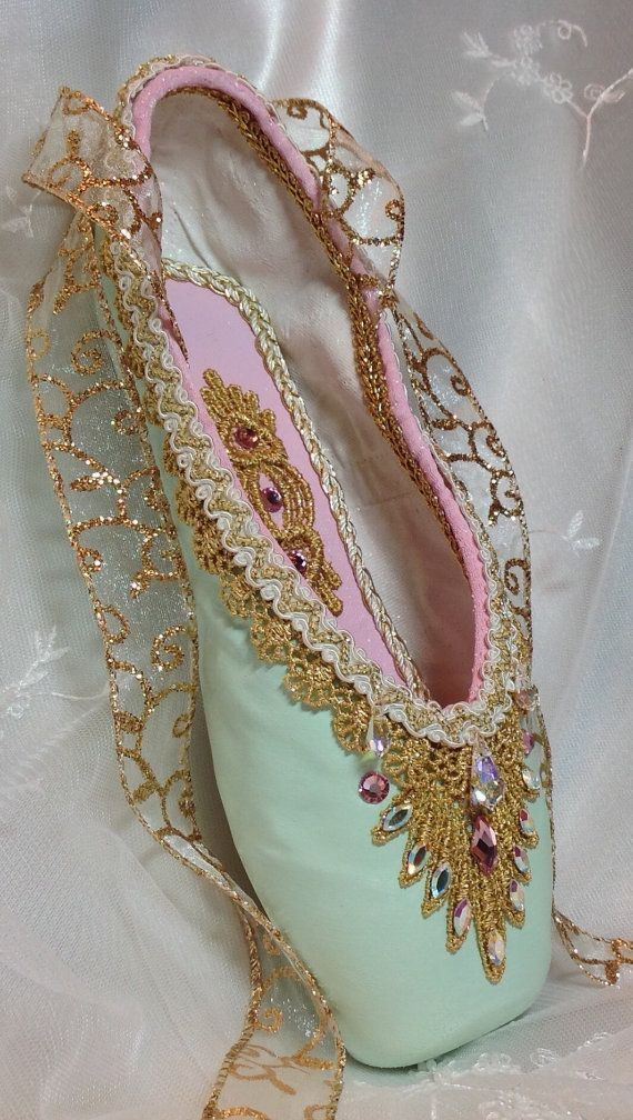 Pink green and gold decorated pointe shoe. by DesignsEnPointe
