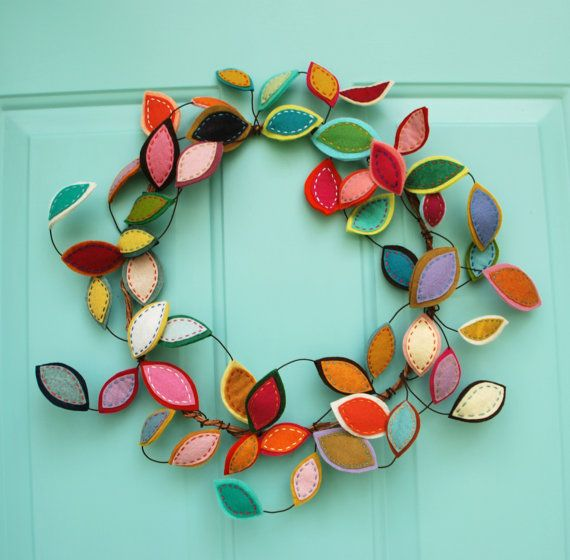 Best Seller - Limited Quantities!  Bright Spring Wreath - Felt Leaf Wire Wreath - Year Round Wreath - Modern Bohemian Wreath - Boho Decor