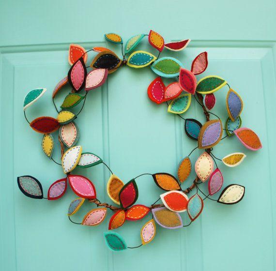 Best Seller - Limited Quantities!  Bright Spring Wreath - Felt Leaf Wire Wreath - Year Round Wreath - Modern Bohemian Wreath - Boho Decor