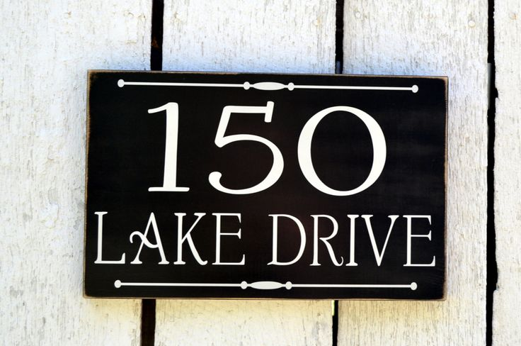 Lake house sign address plaque custom house numbers sign - House number signs for yard ...