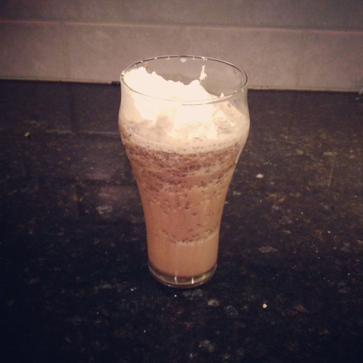 Homemade Starbucks Double Chocolaty Chip frappuccino: 1 serving-- 1 cup ice, 1/2 cup milk, 1/6 cup chocolate chips, 1.5 tbsp chocolate syrup, 1 drop vanilla, 1 tbsp sugar. Fraction of Starbucks price!