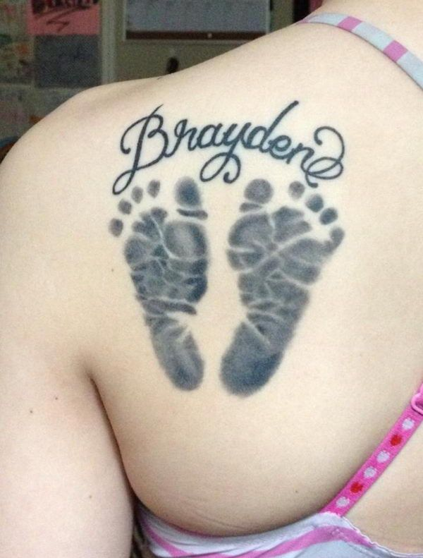 Footprint with Name on Shoulder Blade - Cute Baby Footprint Tattoos, http://hative.com/cute-baby-footprint-tattoos/,
