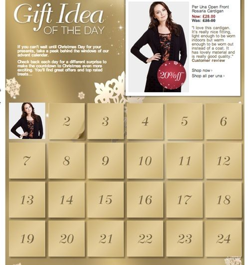 Marks and Spencer has an easy to use calendar but it still has the element of surprise by clicking on the date to reveal the deal. Day 1 revealed 20% off a Per Una cardigan along with a very positive customer review.