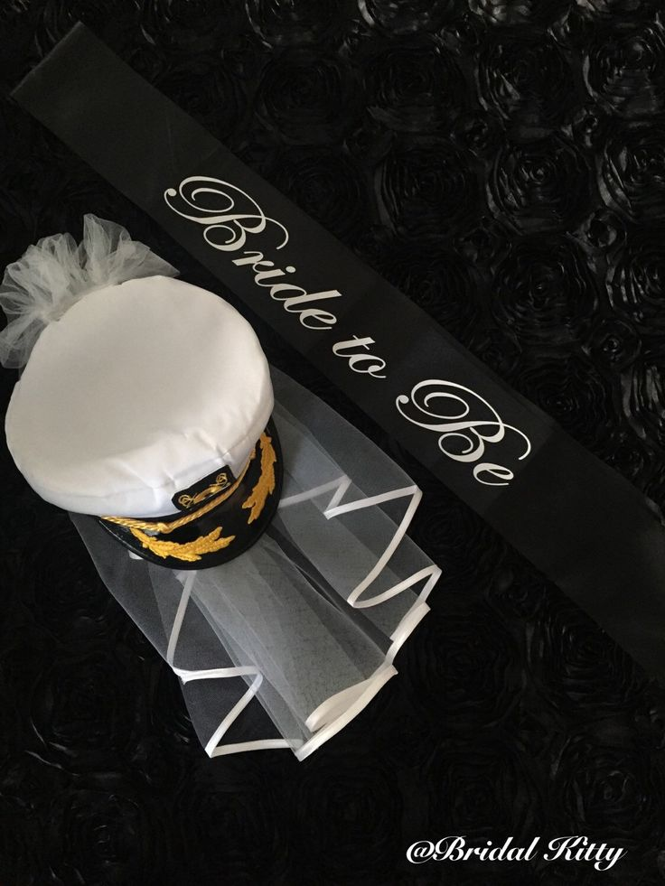 Nautical Bride Bachelorette Party Captain Hat Last Sail Before The Veil Black White Bridal Sailor Wedding Anchor Cruise Pool Cap Sash