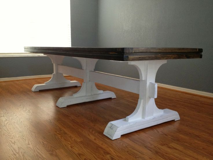 DIY Farmhouse table using Anna White plans Faith Family and a Blissful Lif