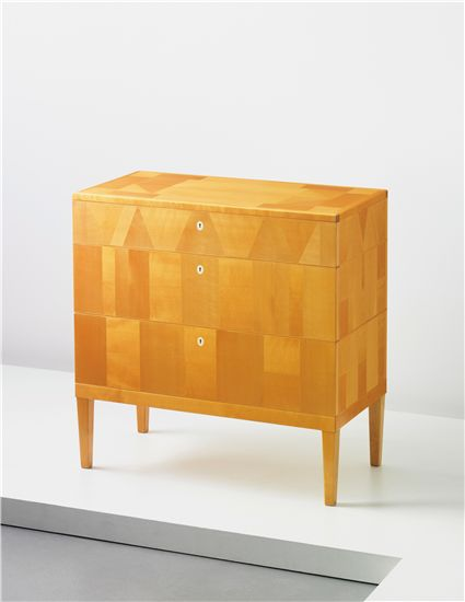 CARL MALMSTEN Chest of drawers, 1950s  Birch-veneered wood, birch, faux ivory. Sweden.