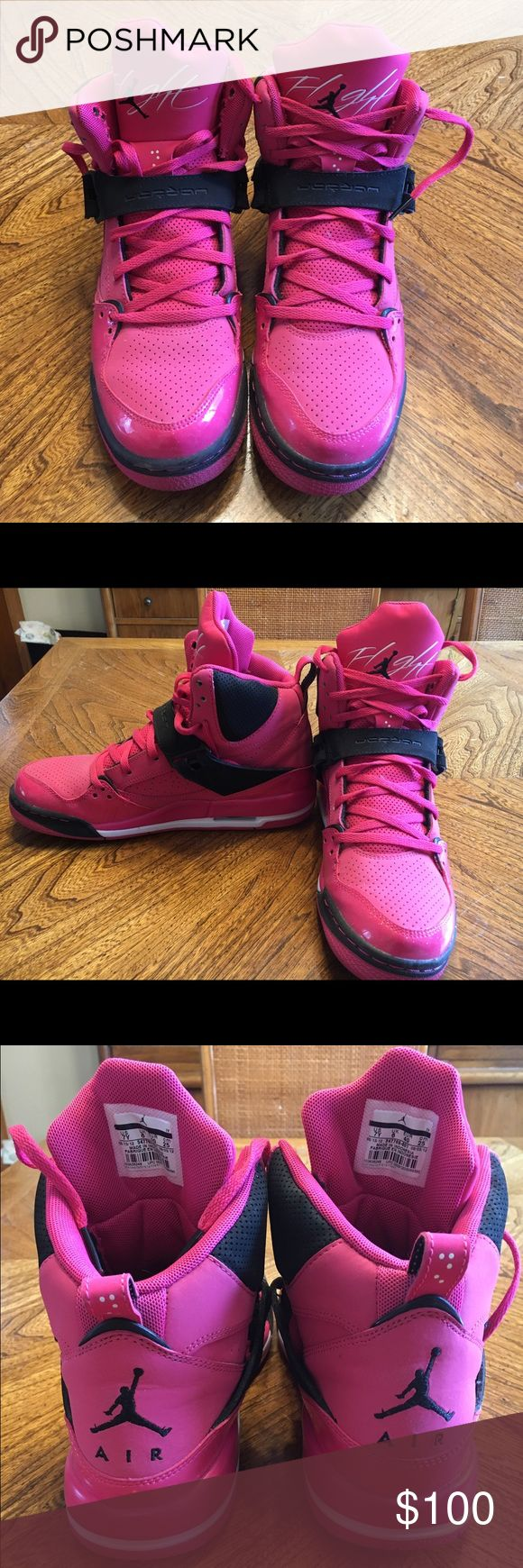 Rare Jordan True Flight 45 Vivid Pink High Tops Worn once!!!! Perfect shape...size 7Y which is a woman's 9 (I wear 8.5 and they fit good tho) Jordan Shoes Athletic Shoes