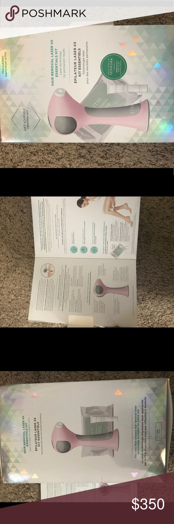 Brand new At home laser removal machine (tria) kit At home laser hair removal machine in pink. It is the tria holiday edition. Comes with smoothing gel and prep cleansing clothes! It has never been opened or used! Brand new in box! Other