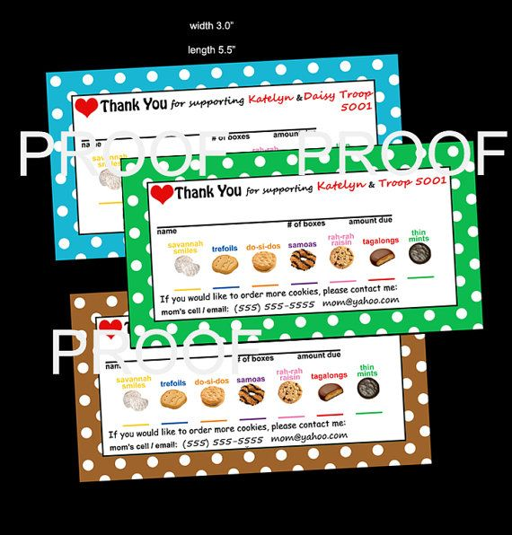 Cookie THANK YOU / Reorder / Receipt - Girl Scout Note Card to place on Cookie Box (I customize file w name, troop #, contact info, cookies) https://www.etsy.com/shop/DanielleArbeit?ref=hdr_shop_menu
