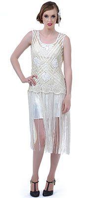 1920's Style Ivory Beaded Rosalie Flapper Dress $196.00