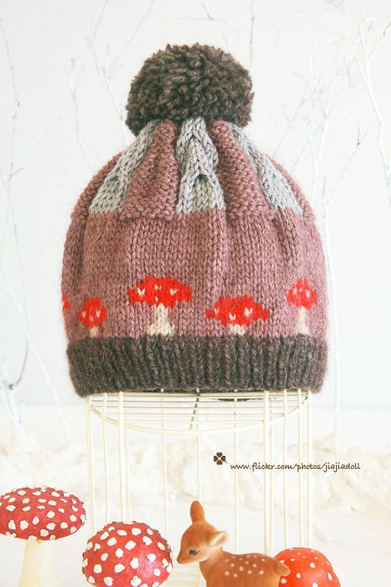 Jiajia DollHand Knit red mushroom twist pompom hat  by jiajiadoll, $38.00   I would die...deer AND mushrooms! aaah