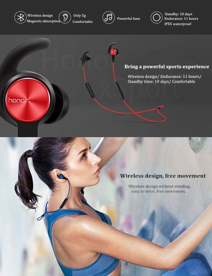 Huawei Honor xSport AM61 Wireless Bluetooth Headset Magnetic Absorption 137mAh IPX5 Waterproof Headphone Sale - Banggood.com  #Iphone #smartphones #mobile #cellphones #apple #accessories