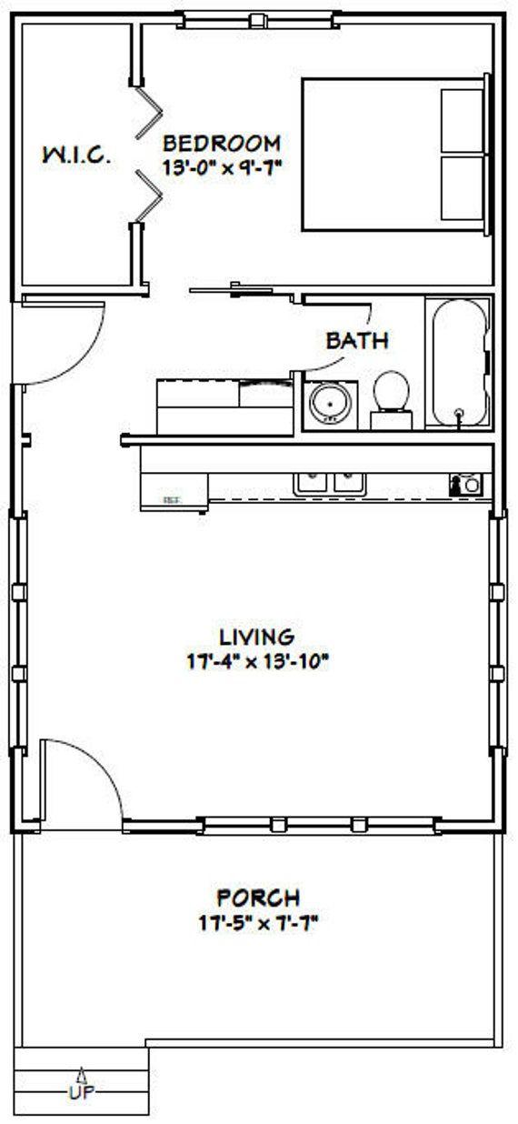 18x30 House 1 Bedroom 1 Bath 540 Sq Ft Pdf Floor Plan Etsy Tiny House Layout One Bedroom House Plans Tiny House Floor Plans