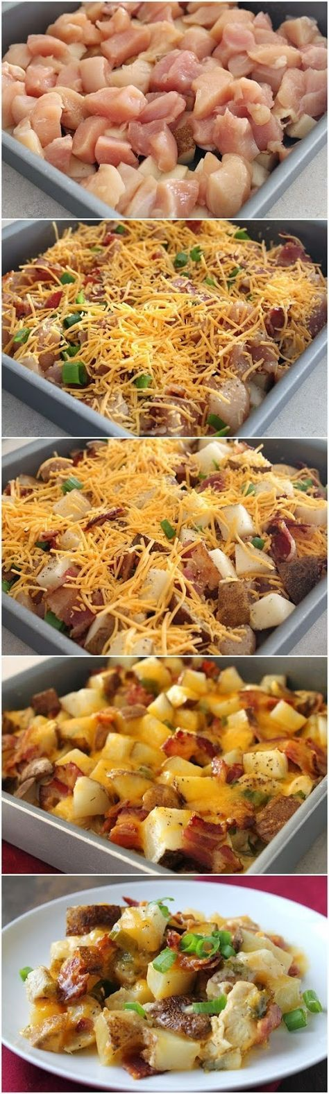 Loaded Baked Potato And Chicken Casserole. Changes I made: slice potatoes and chicken into thin and small chunks, and mix both into sauce and bake at 500 degrees, covered.