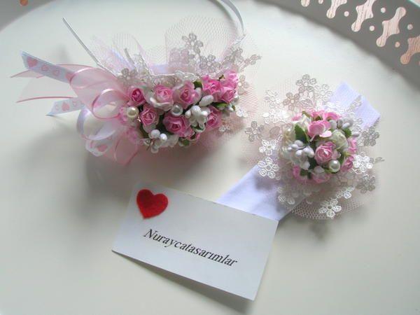 Pembe Çiçekli Lohusa Tacı +Bebek Saç Bandı