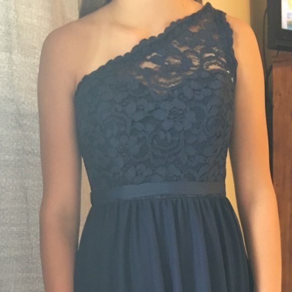 Formal bridesmaid dress Navy bridesmaid dress with lace on top. David's Bridal Dresses Wedding