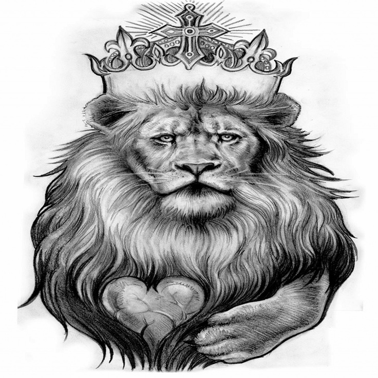 Lion with a crown and heart of what jesus did and is ...