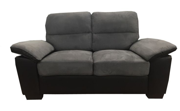 Classic Soft Microfiber and Bonded Leather Love Seat in Grey