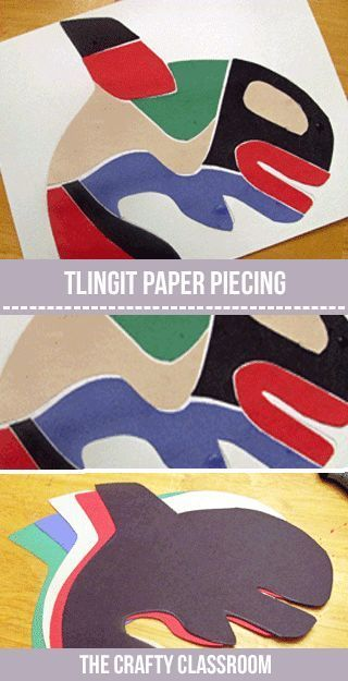 Native American Crafts: Tlingit and Haida Art.  Paper Piecing art project for kids:
