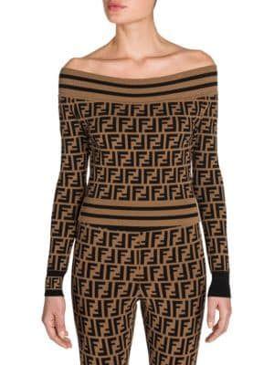 c8f15db2ae86a Fendi - Off-The-Shoulder Knit Logo Sweater