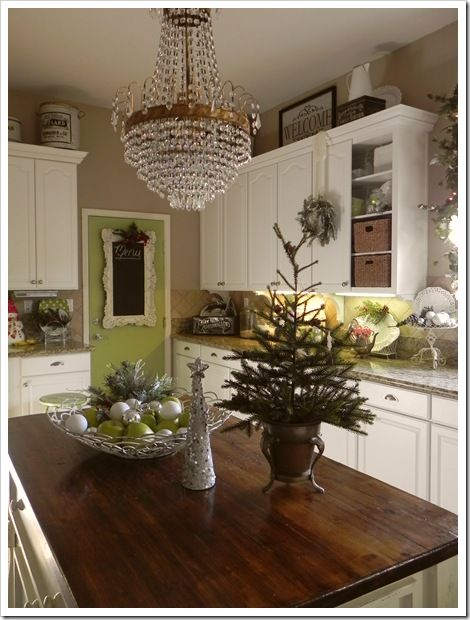 Cozy Cottage Kitchen decorated for Christmas