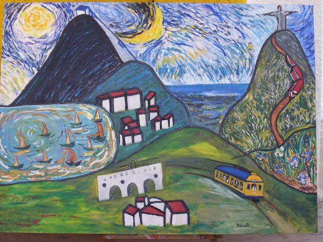 Panorama of Rio de Janeiro, dressed in Van Gogh