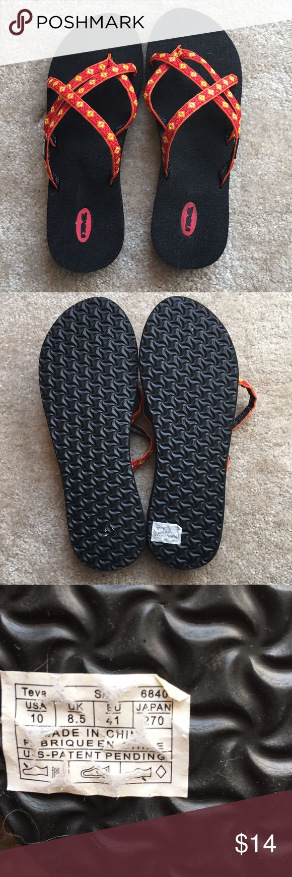 Teva Red/orange flip flops Teva flip flops...  love these for summer Teva Shoes Sandals