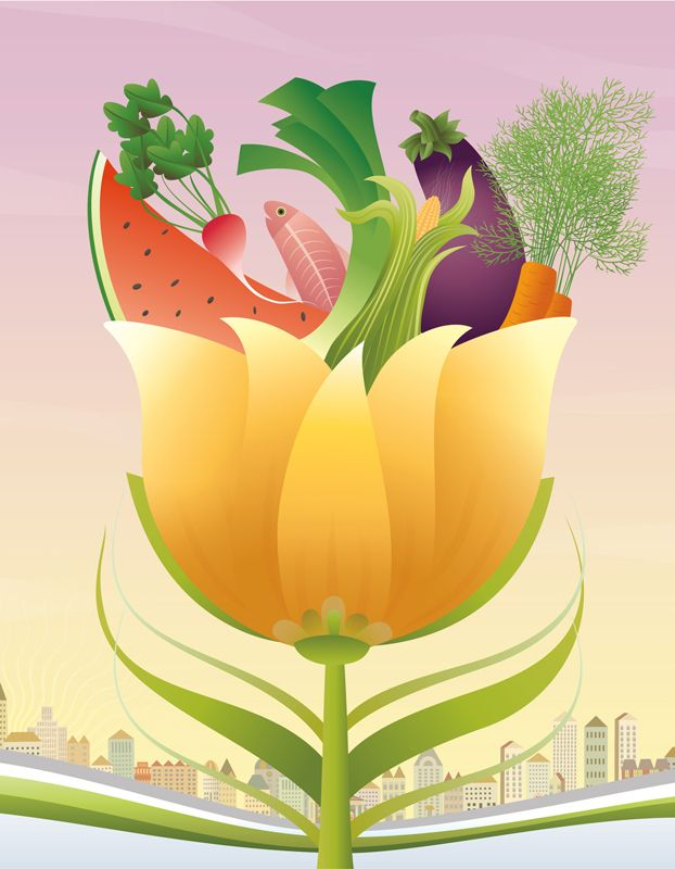 #ChristianeBeauregard #vectorillustration of #hearthealthy #fruit and #vegetables #sustainability #nature #lindgrensmith