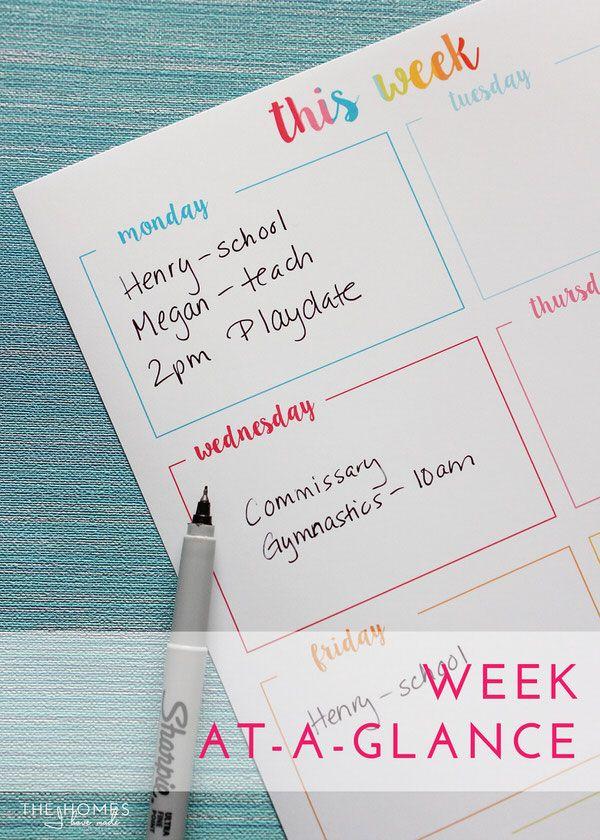 FREE Weekly Organizing Printables | Week-at-a-Glance