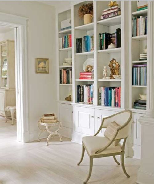 Whitewashed rooms.... my library will be floor to ceiling bookshelves, rustic   whitewashed