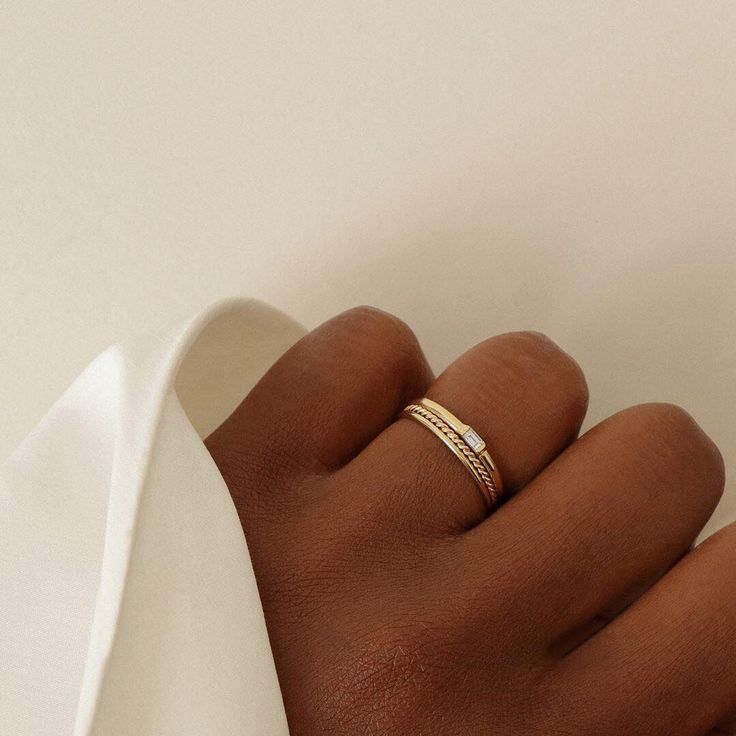 The Skinny Stack, Twist and Baguette Diamond Rings